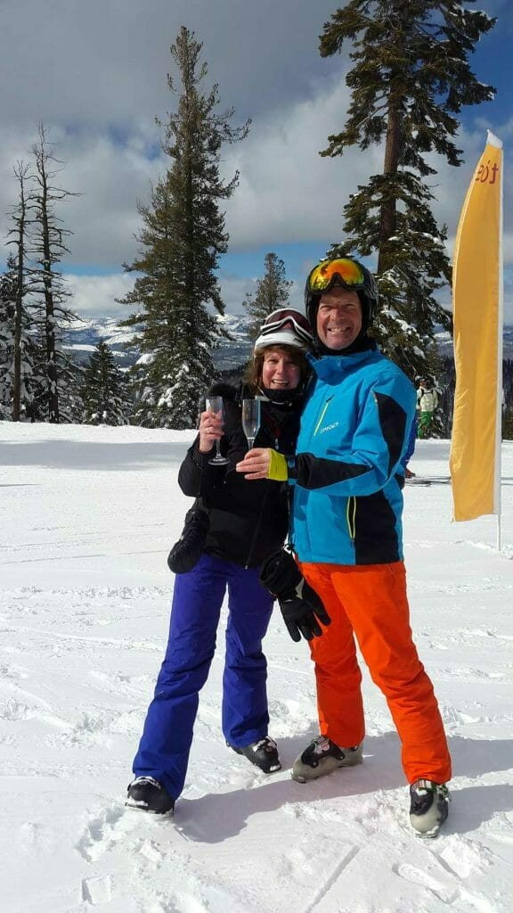 Drinking champagne on the slopes
