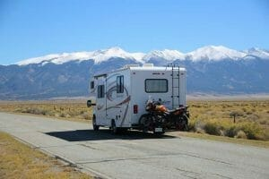 RV with bike on back