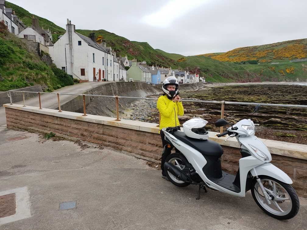 With the scooter in Gardenstown