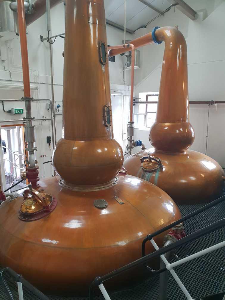 Copper stills in the Knockdhu whisky distillery