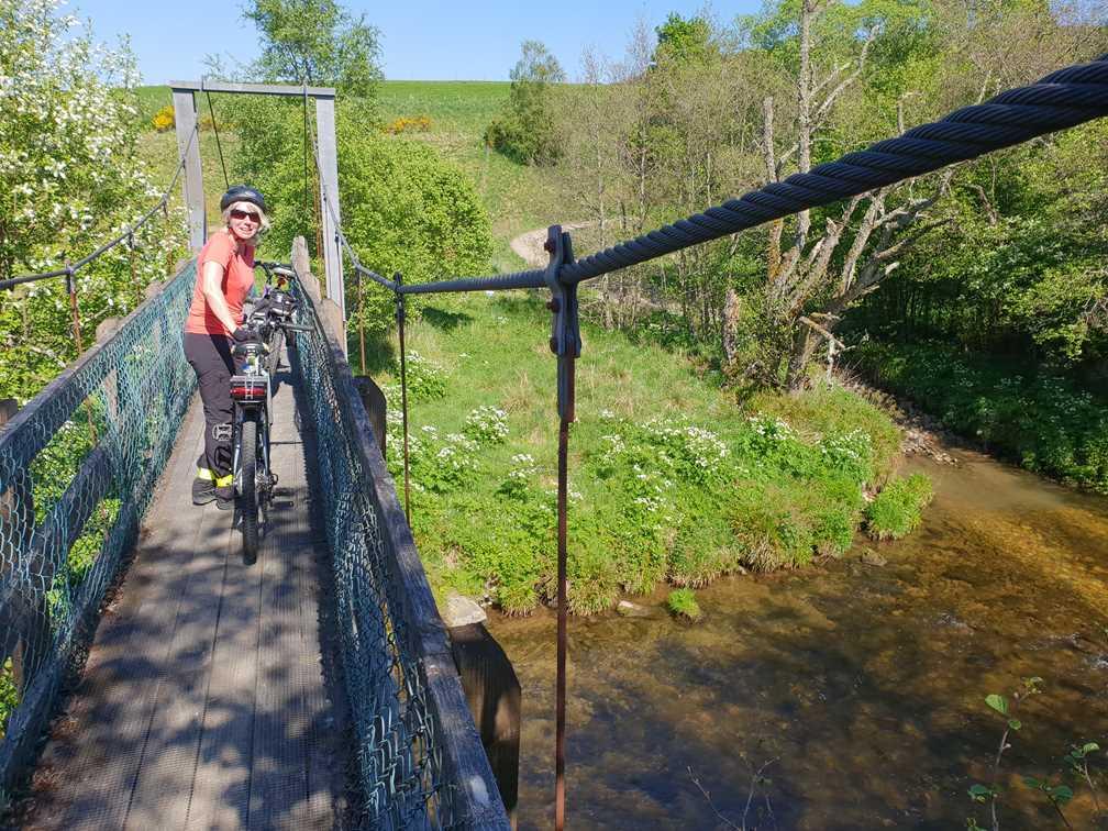 A narrow foot bridge in Speyside