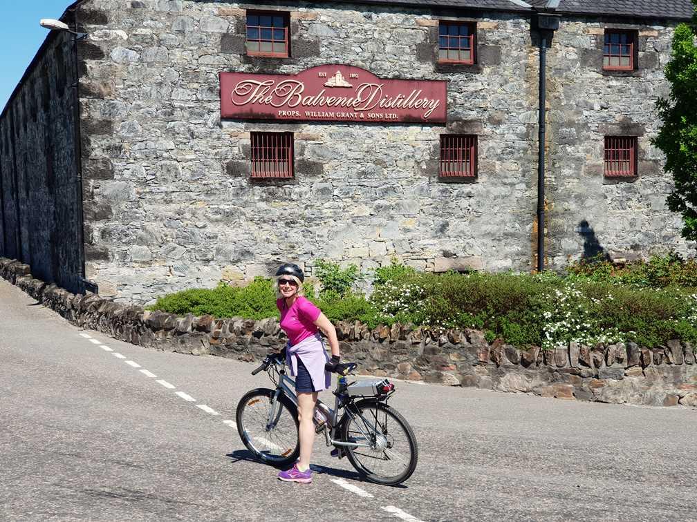 On my bike outside the Balvenie whisky distillery