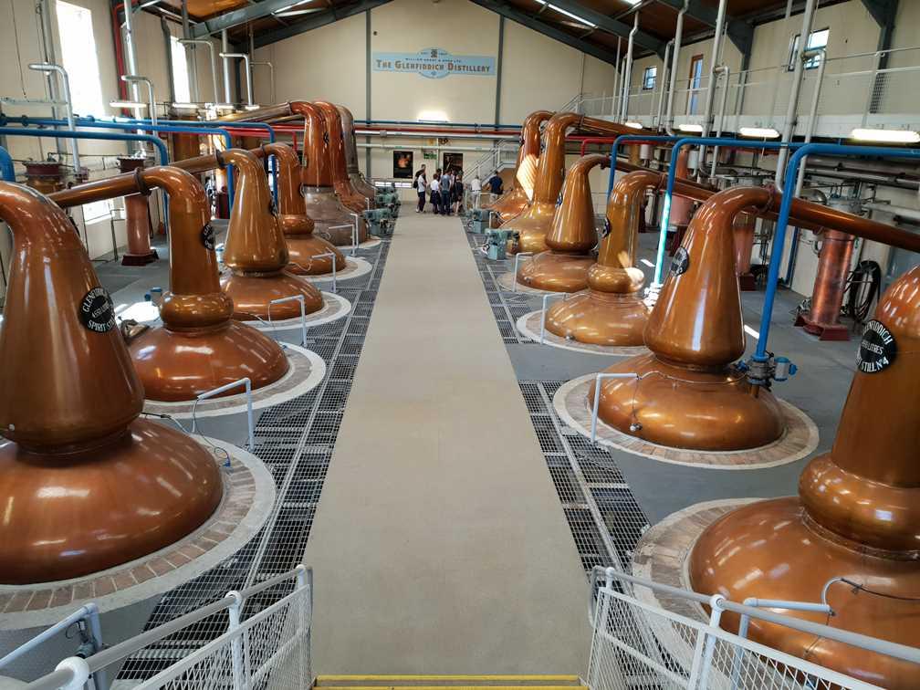 Whisky stills at Genfiddich on the Scottish Whisky Trail