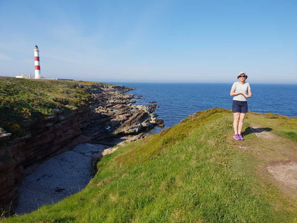 Standing on the headland at Tarbat on our Scotland road trip