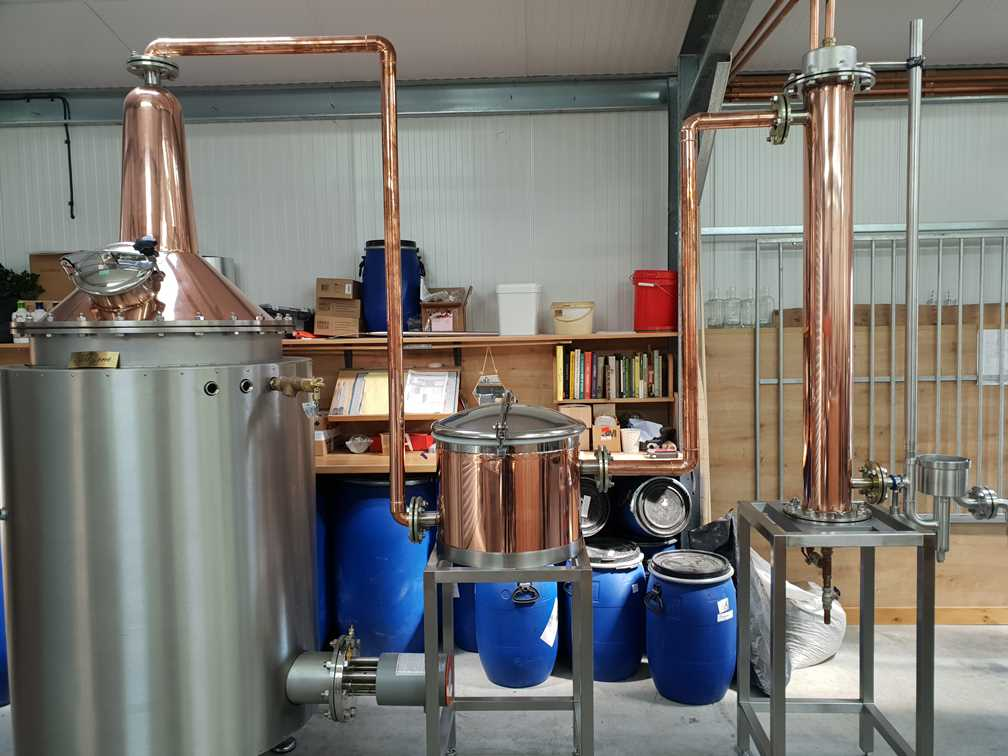 The still inside the Dunnet Bay Gin distillery where Rock Rose gin is made