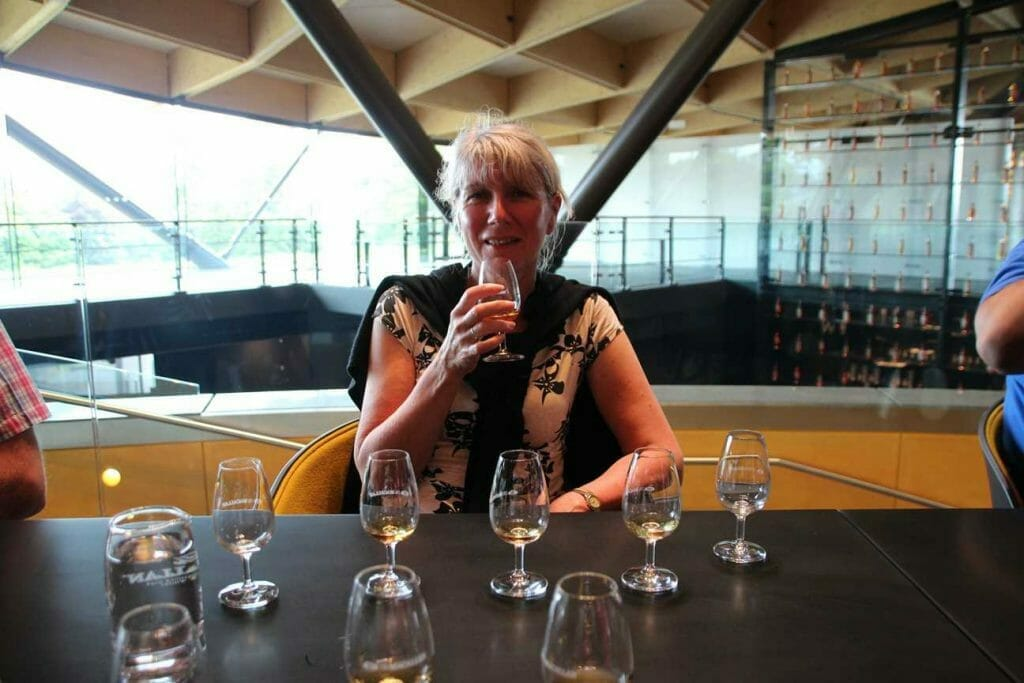 Drinking whisky at the end of the tour of the Macallan distillery