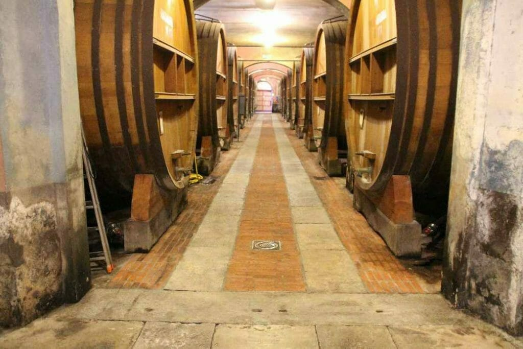 In the wine cellar at Fontanafredda, a must visit on a trip to Northern Italy