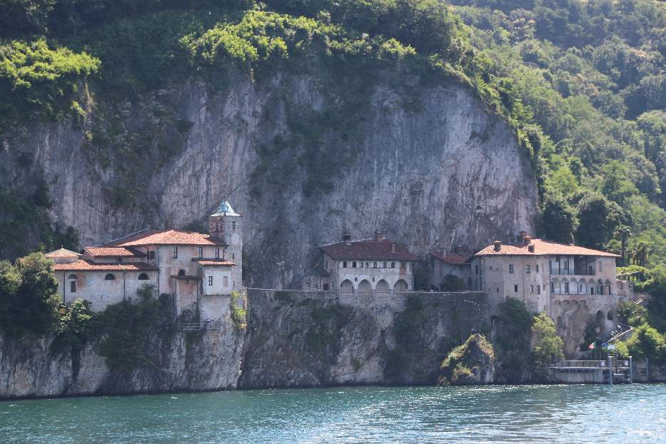 View of Santa Caterina del Sasso from the ferry