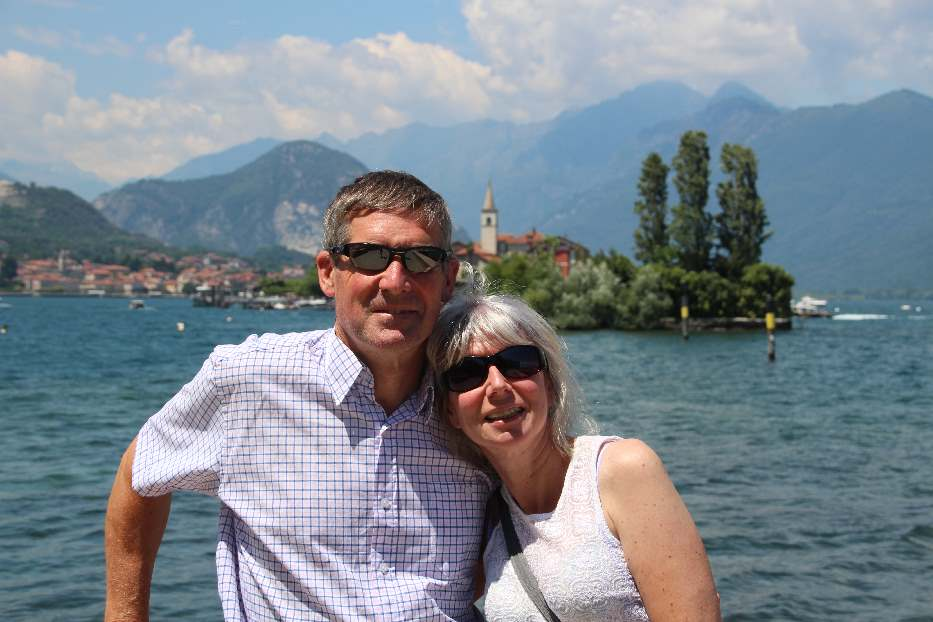 Jane and Peter on a trip to Northern Italy - Isola Bella with Isola Superior dei Pescatori in the background.
