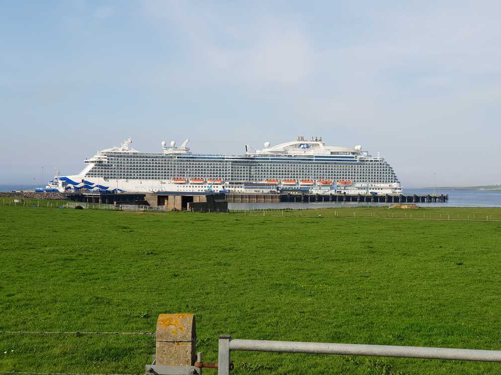 Large cruise ship docked in Kirkwall, Orkney