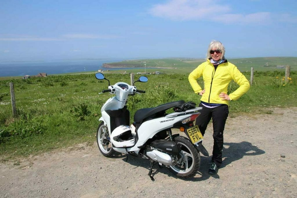 With the scooter on Orkney