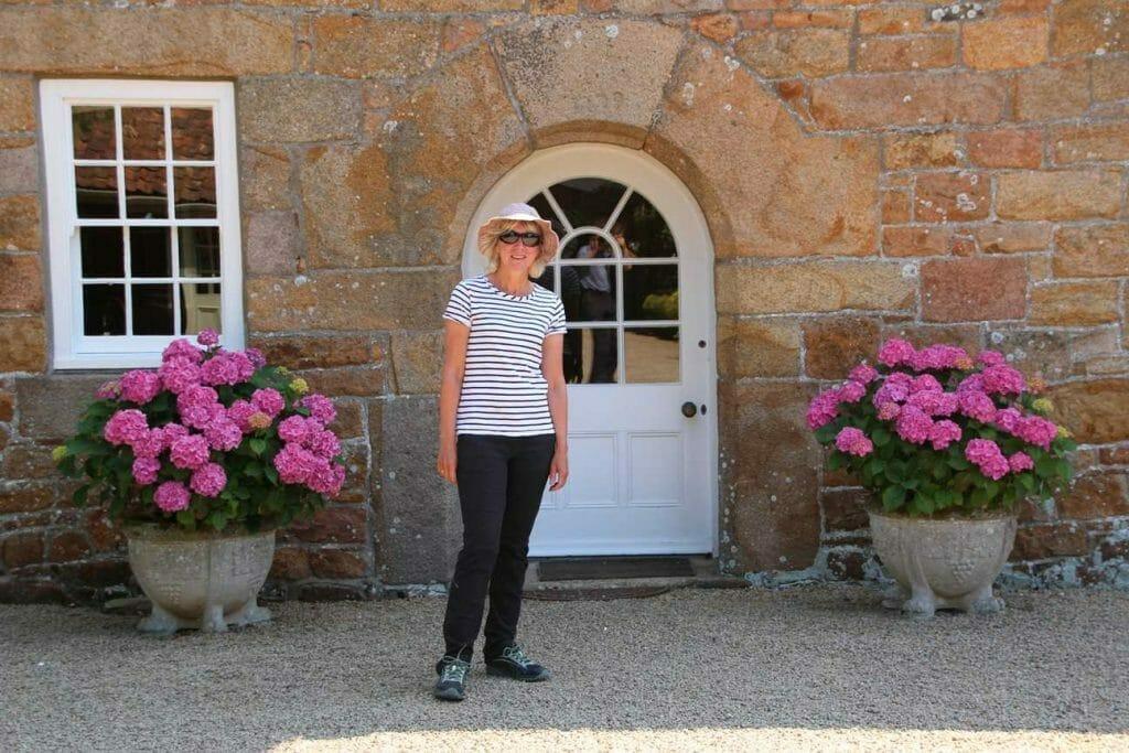 Standing outside the farmhouse at La Mare