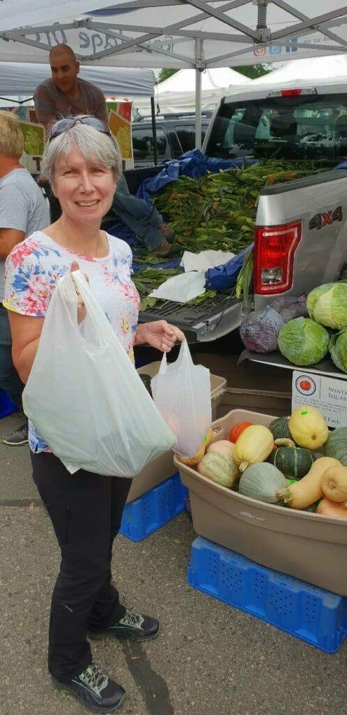 Jane at farmer's market in Kelowna