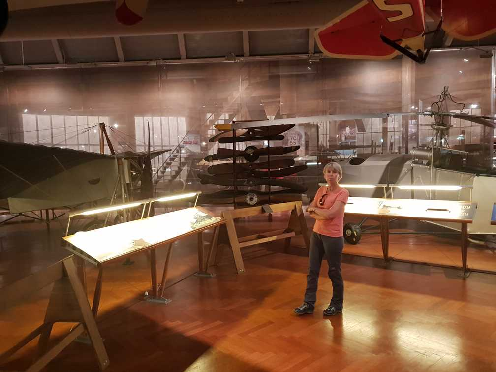 Bleriot's plane and Sikorsky's helicopter in the aviation section of The Henry Ford