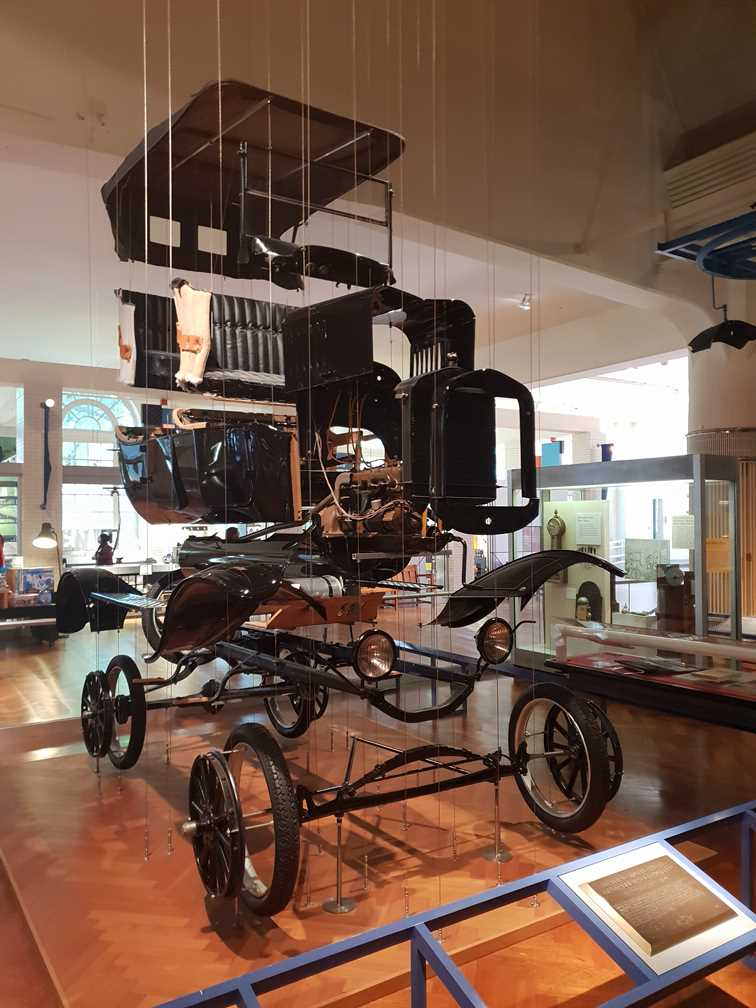 A Model T displayed in all constituent parts