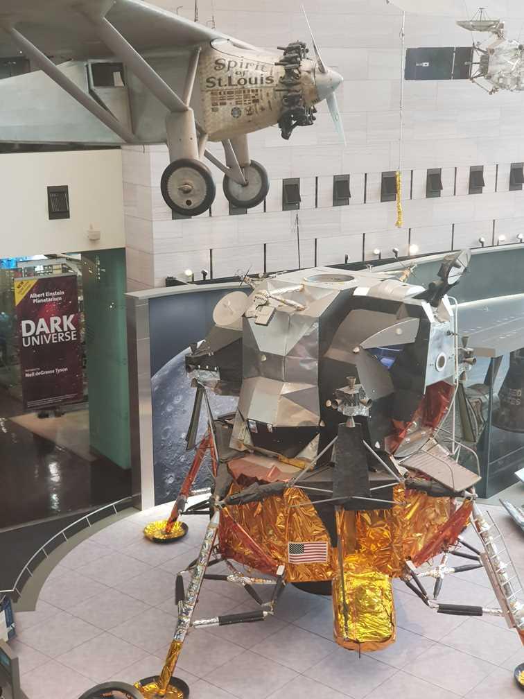Lunar module and Spirit of St Louis