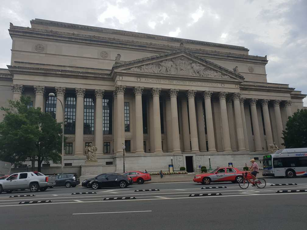 The National Archives, an important landmark in Washington DC