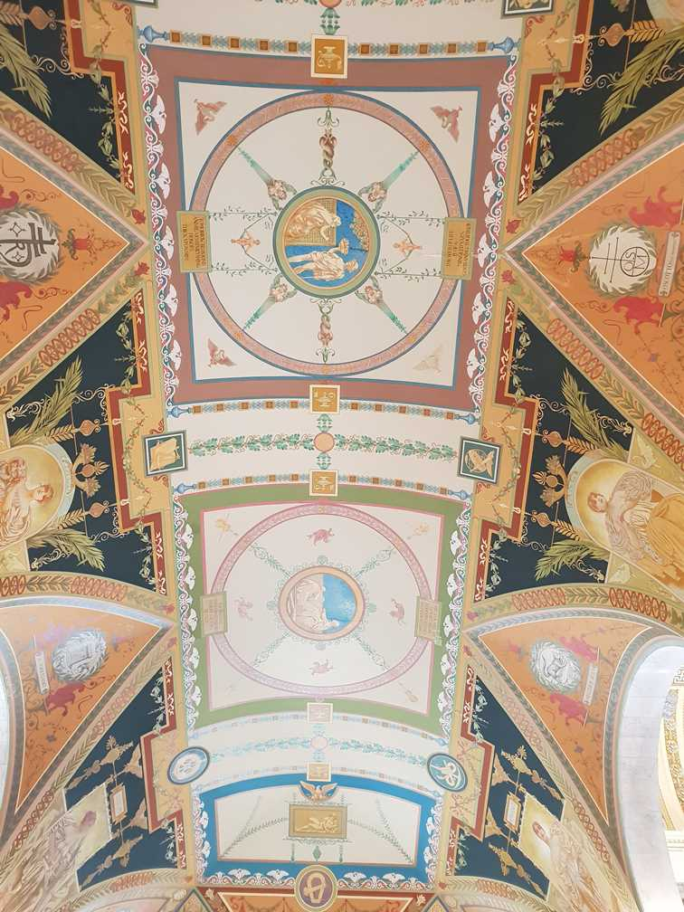 The exquisitely decorated ceiling