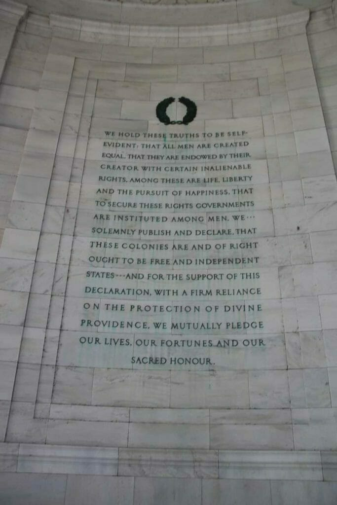 The Declaration of Independence on the wall inside the Jefferson Memorial