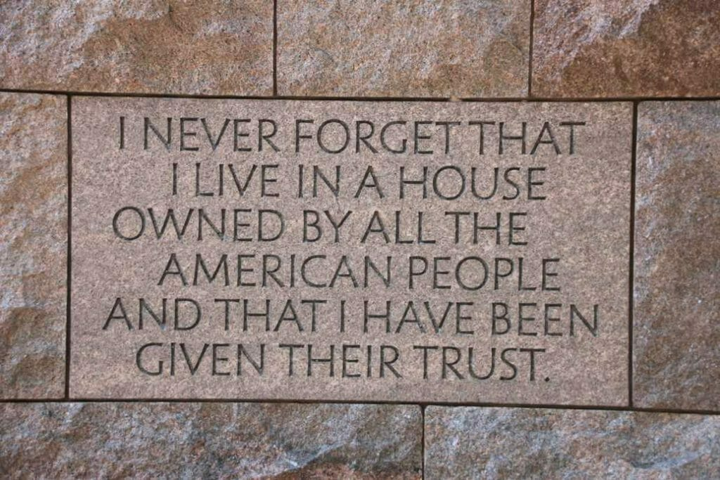 Inscription on the wall of the FD Roosevelt Memorial