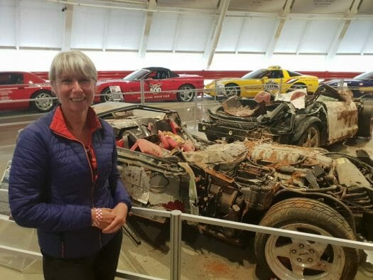 The exhibit featuring the trashed cars