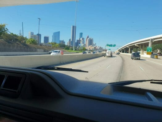 View out of the campervan windscreen as we approach Dallas