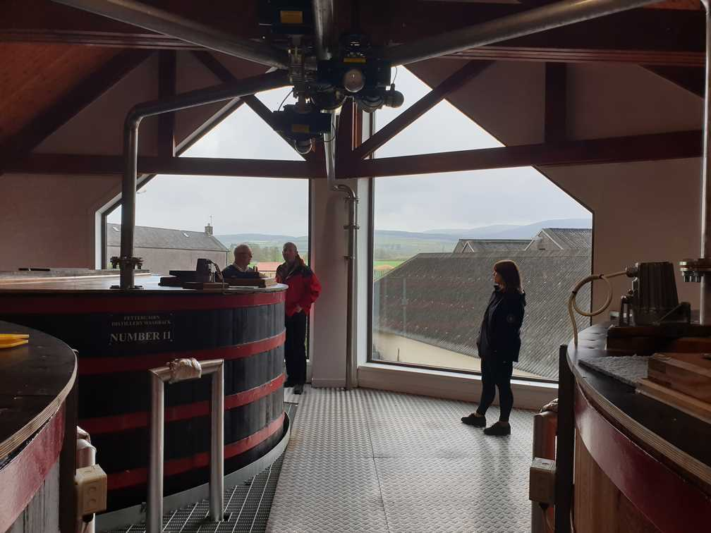 The view from the window at Fettercairn whisky distillery