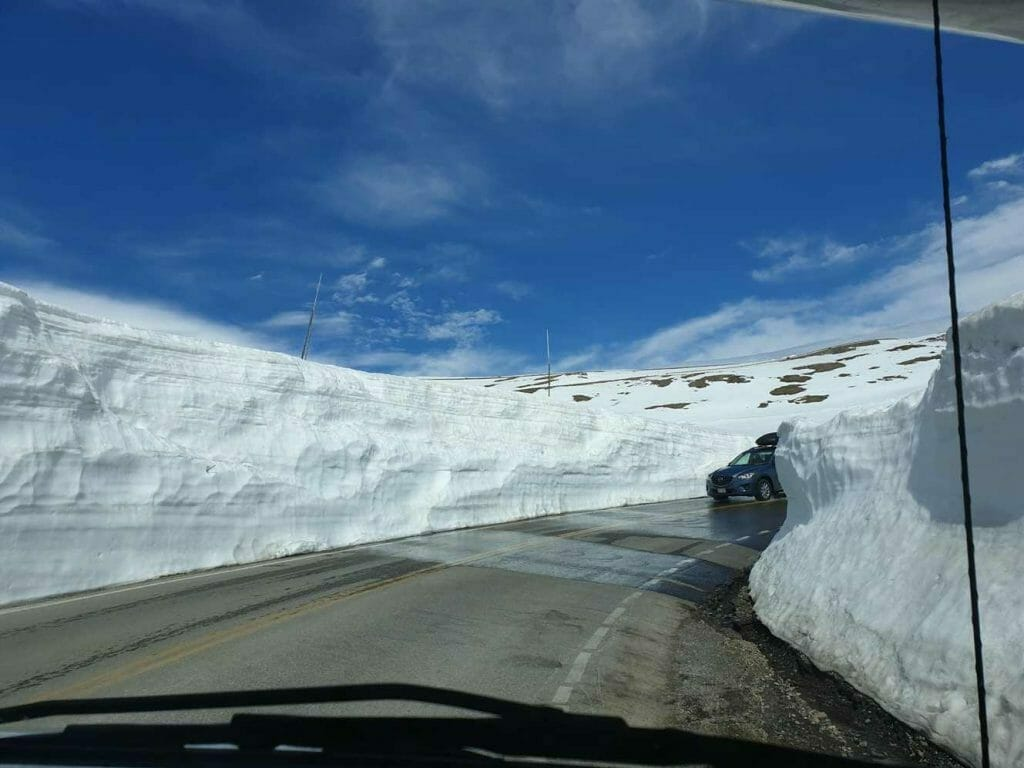 Walls of snow along the highway