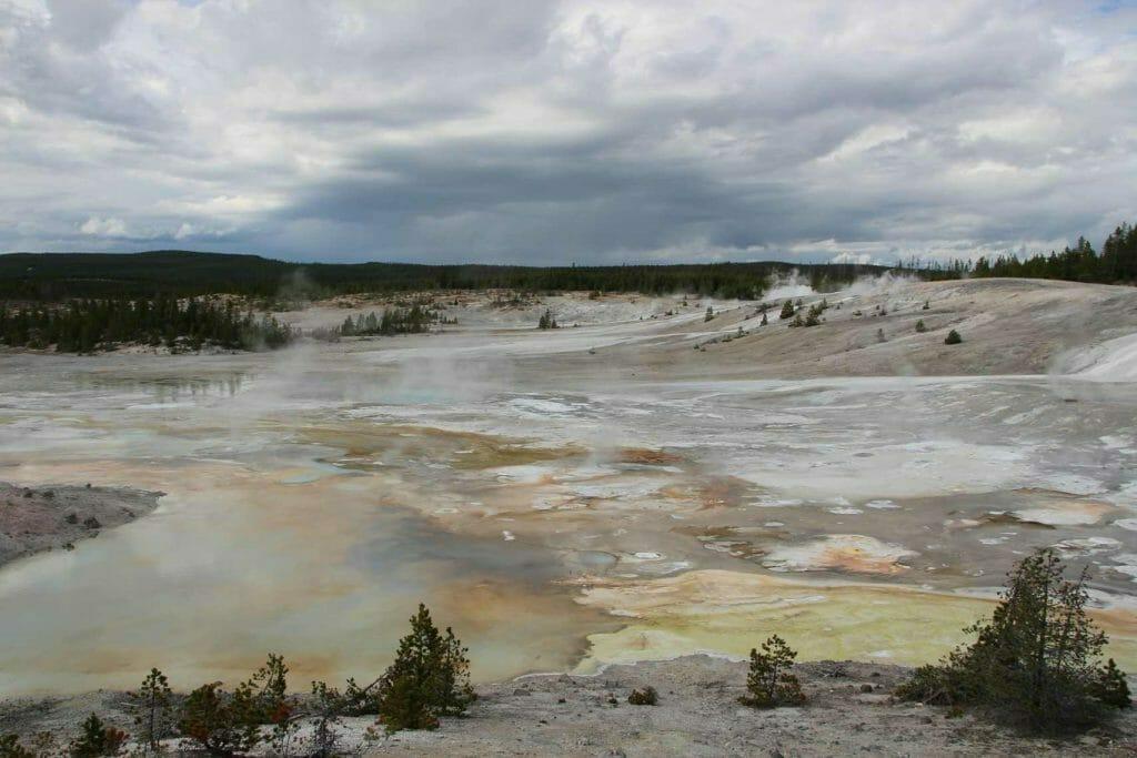 Lurid colours of Norris Geyser Basin