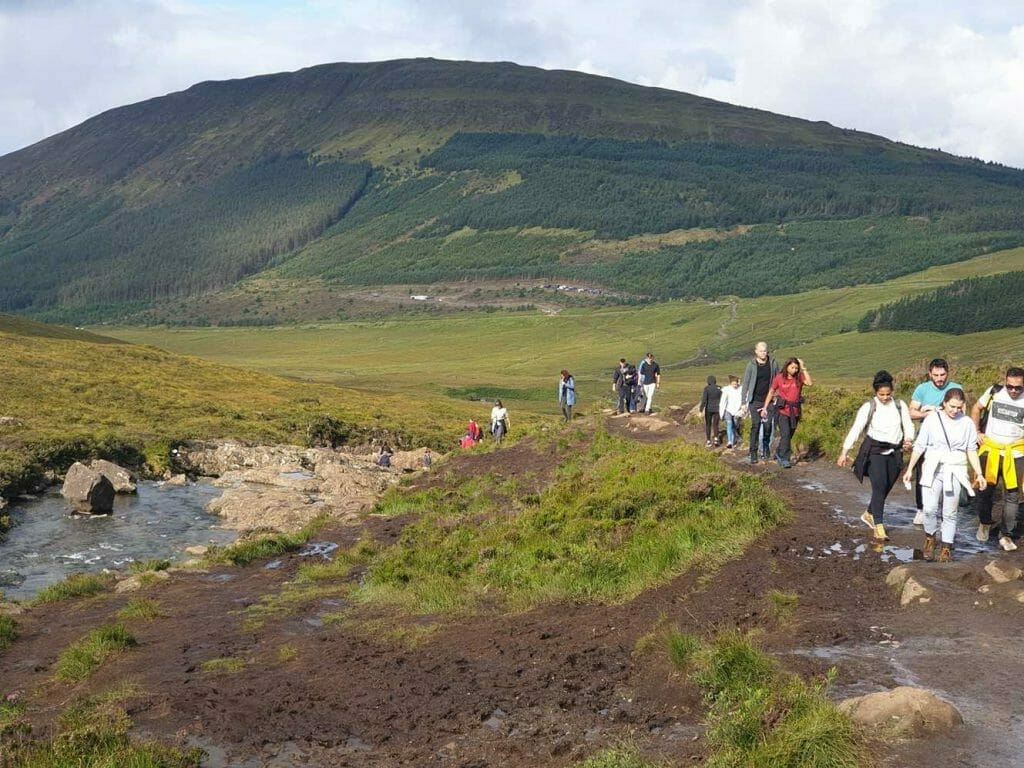 Crowds walking to the Fairy Pools