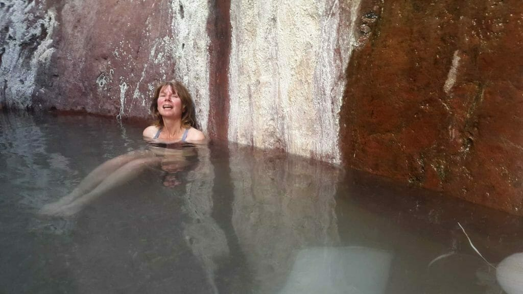 In the hot spring at White Rock Canyon
