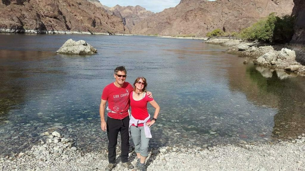 Standing at the Colorado River at the bottom of White Rock Canyon