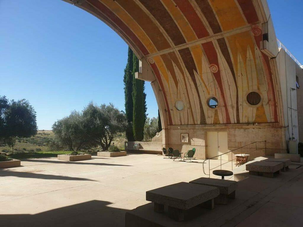 Inside a communal area in Arcosanti