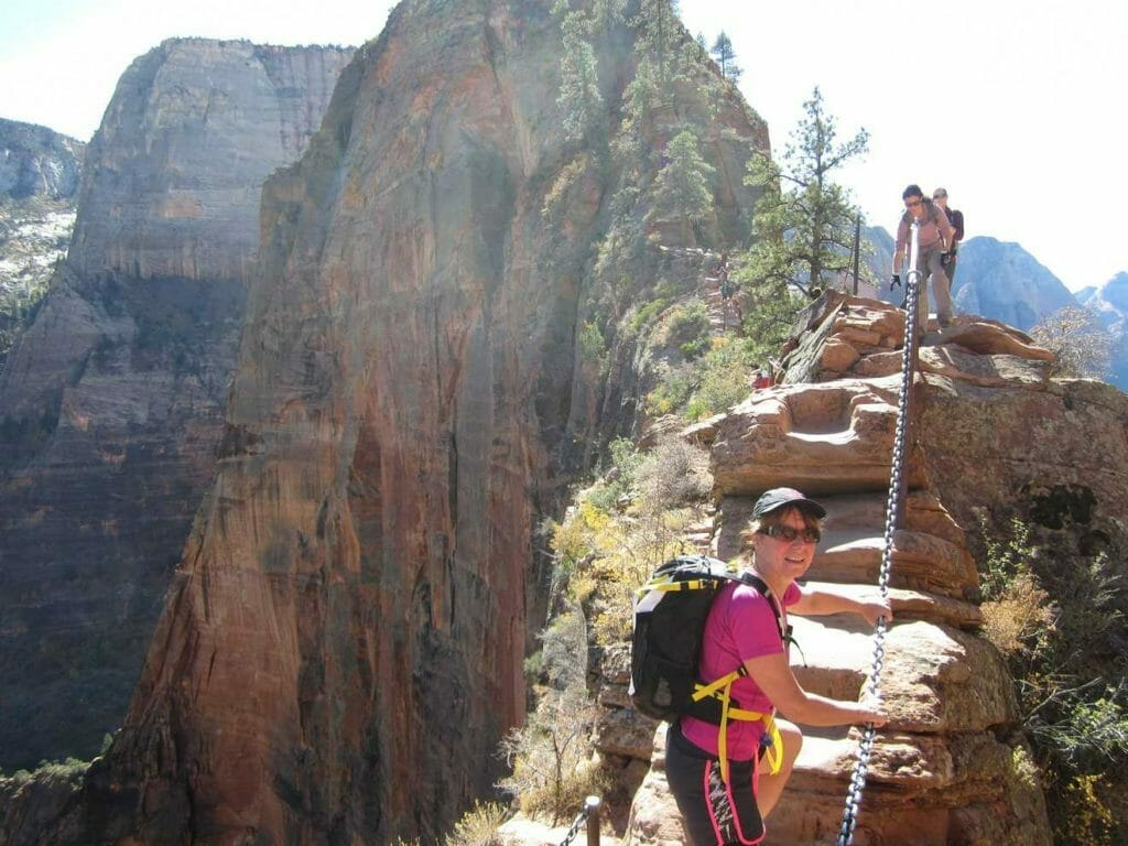 Climbing up Angels Landing in Zion NP