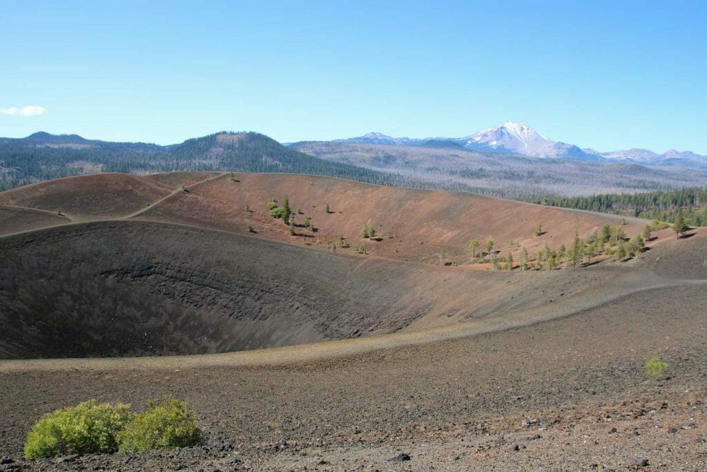 A view of the crater at the top of the cinder cone