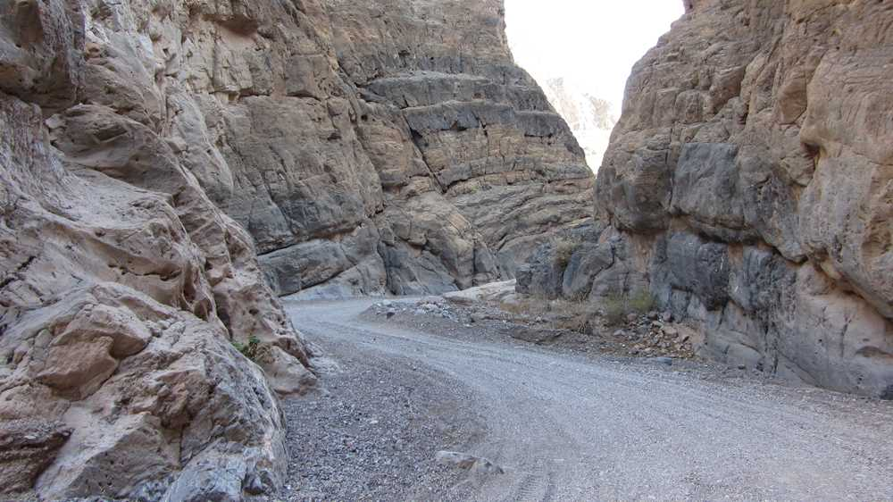 The road through Titus Canyon in Death Valley