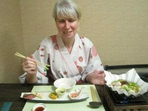 Eating traditional Japanese food