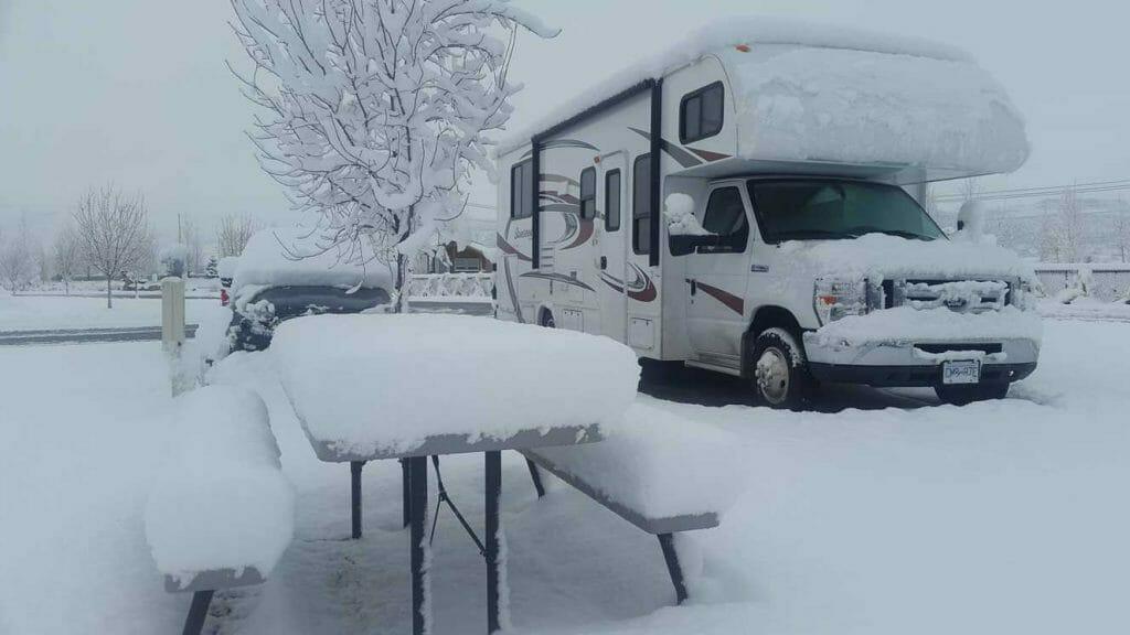 RV in winter campsite