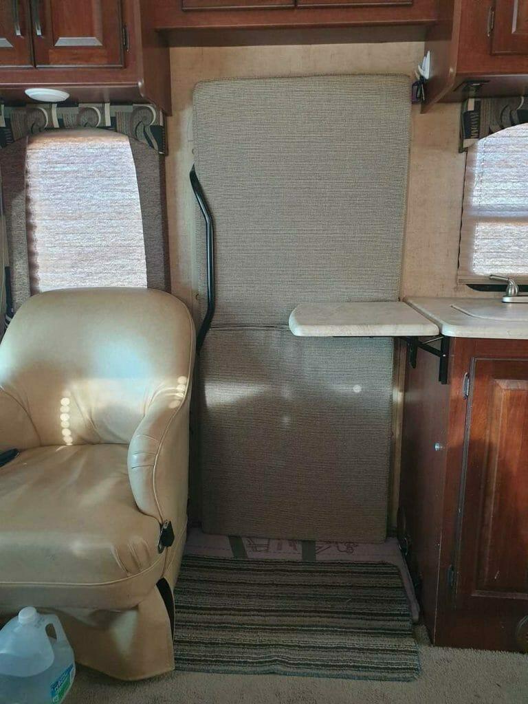 Motorhome door insulated for RV ski trip