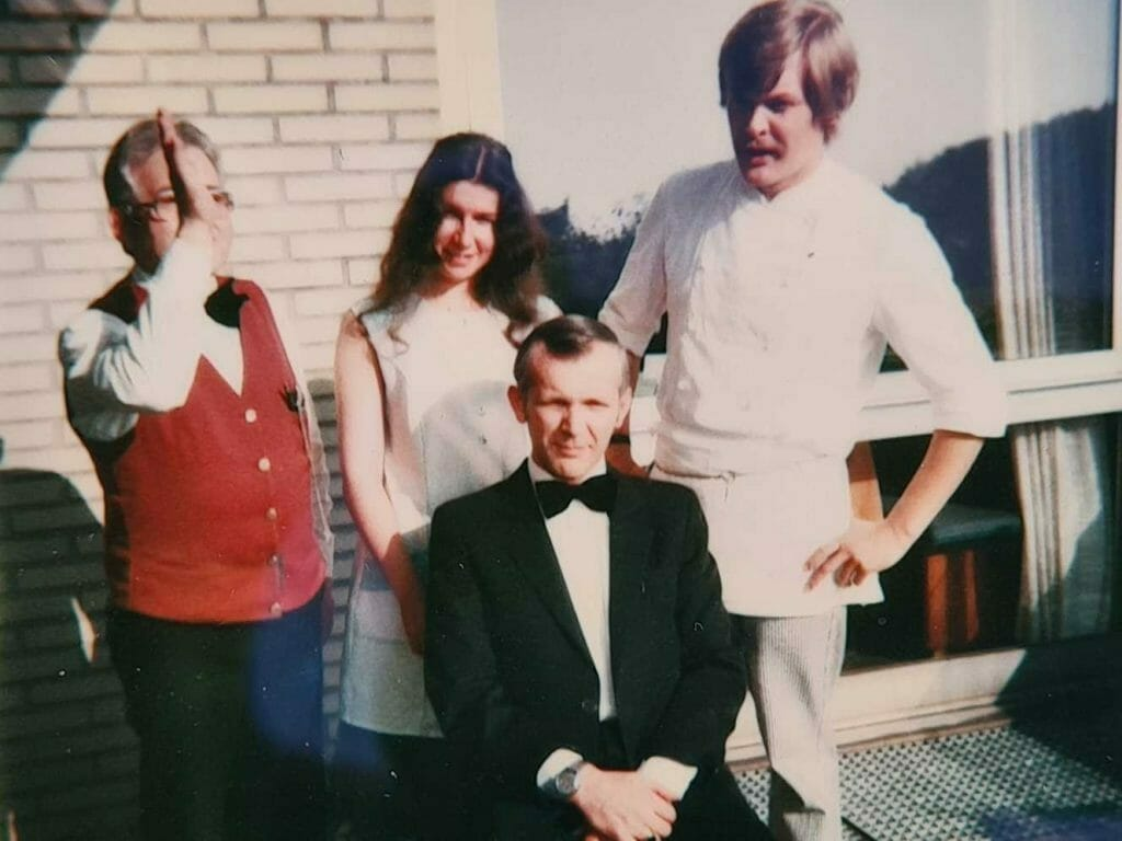 Me as a baby boomer with staff at the raststatte