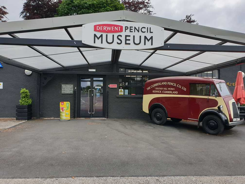 Outside the Derwent Pencil Museum in Keswick