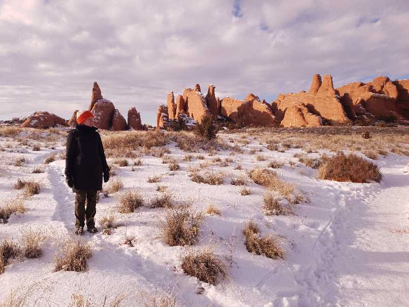 Winter scene on one day in Arches National Park visit
