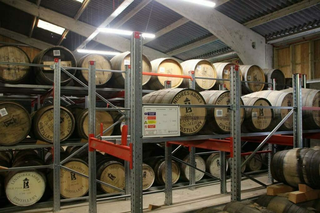 The barrel warehouse in Lindores Abbey Distillery