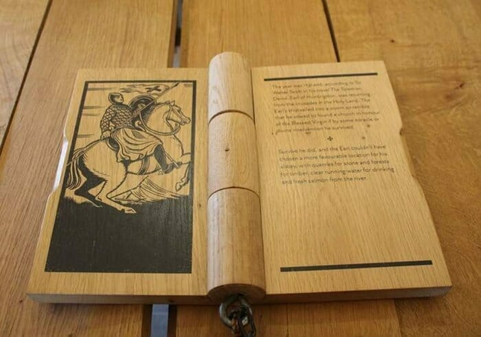Wooden book on display in Cloister