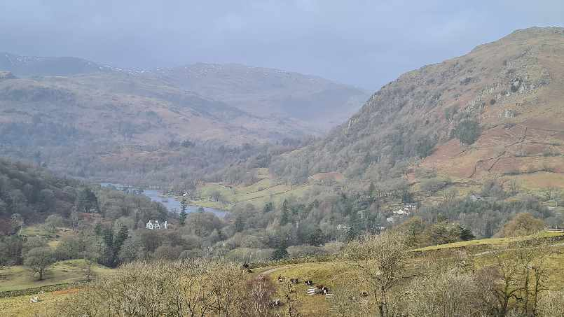 View over the fells from trail to High Sweden Bridge