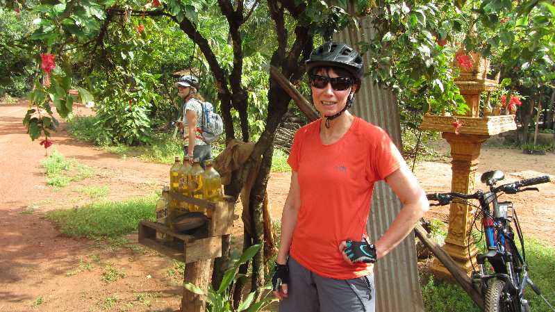 Cambodia by bike fuel station