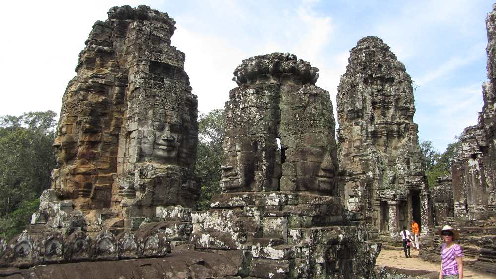 Faces of Bayon on Cambodia by bike tour