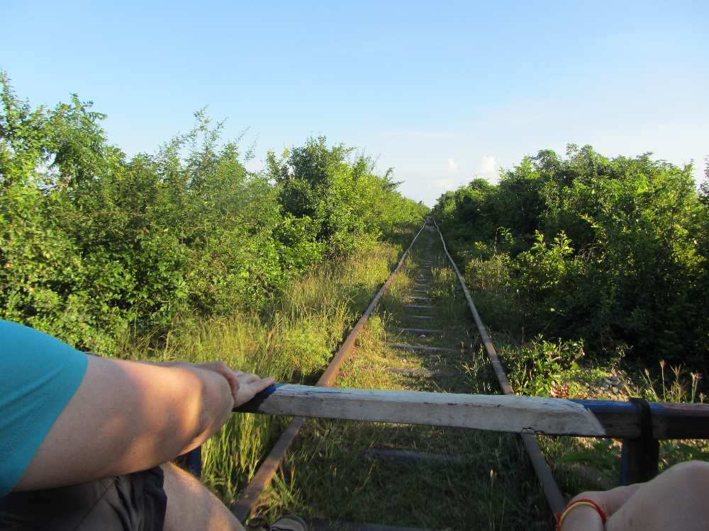 View out of the front of the Bamboo Train