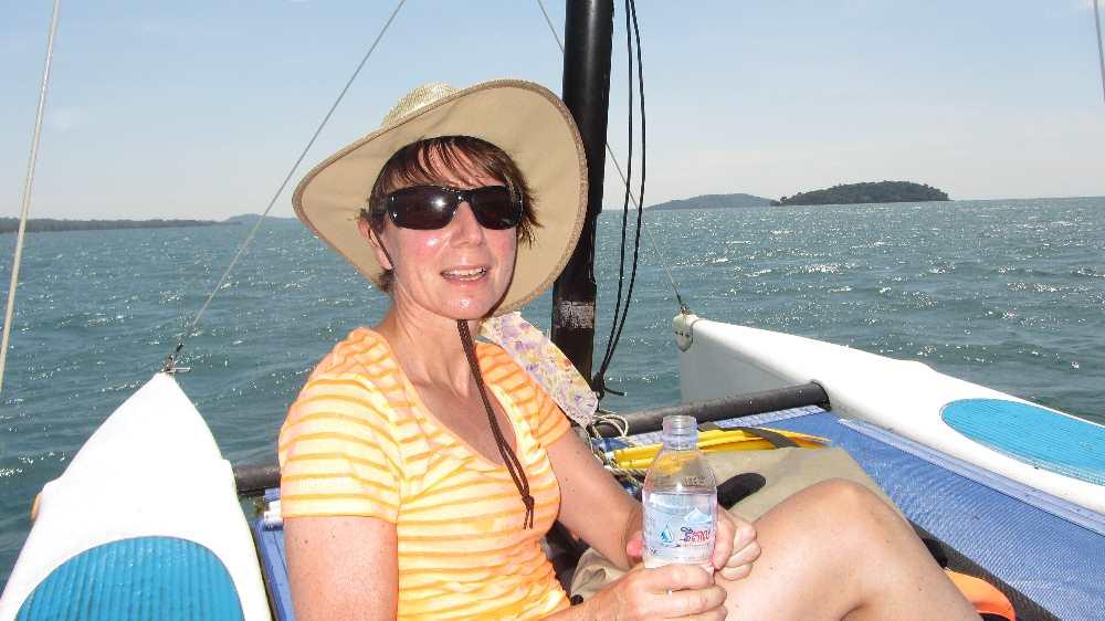 Jane on catamaran