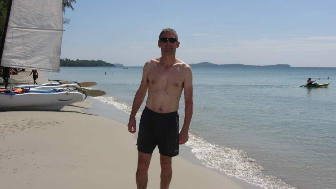 Peter on beach in Sihanoukville